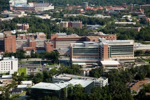 Arial view of UF campus from UF Health